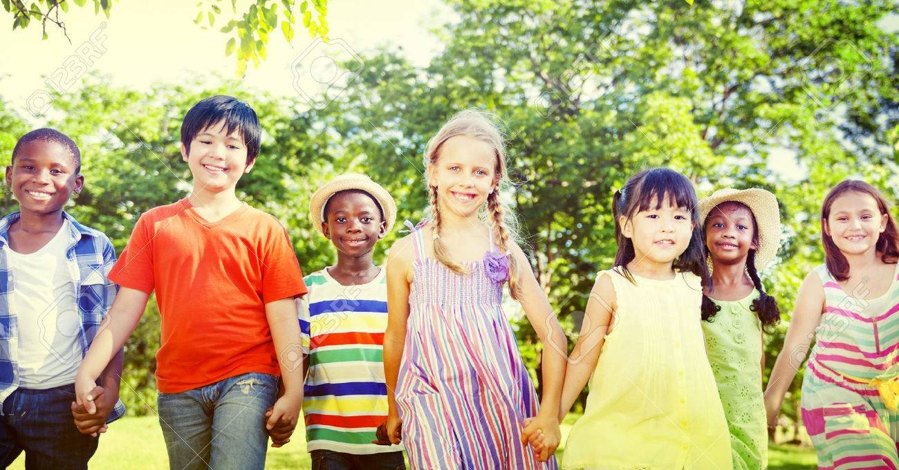 diverse children playing outdoors
