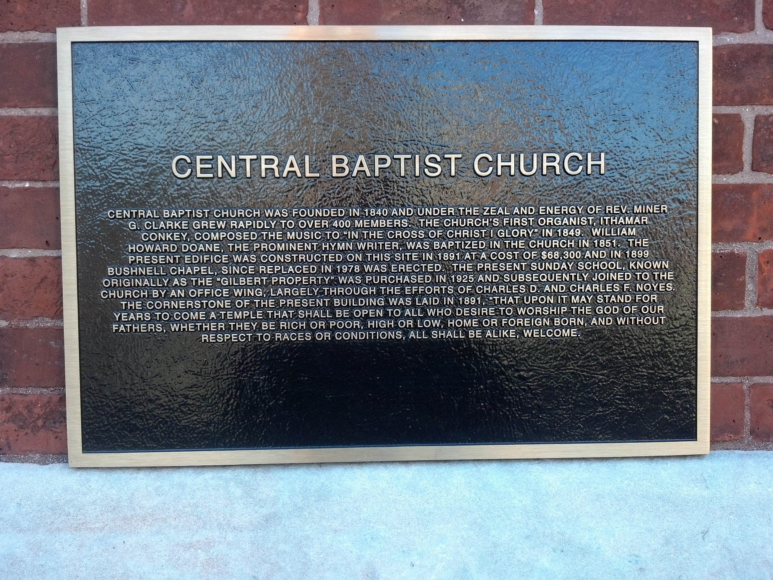 Central Baptist Church Plaque