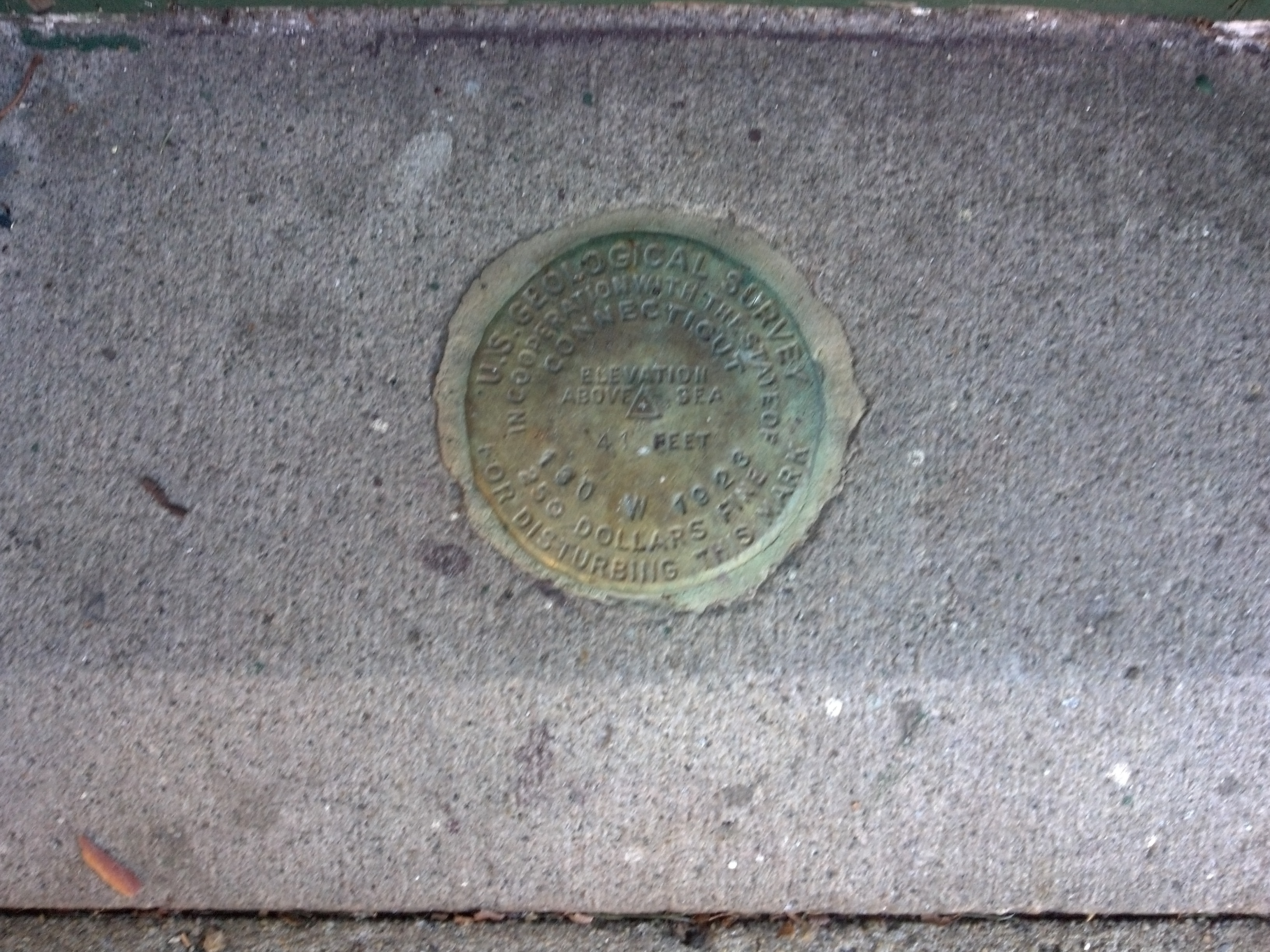 U.S. Geological Survey Marker located next to City Hall Broadway entrance